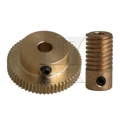 1:60 0.5-mode 60Teeth Brass Worm Gear & Shaft Reducer for Industrial 4mm