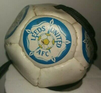 """1990S * LEEDS UNITED * 3"""" * MINI * HANGING (in car) LEATHER FOOTBALL * ON A ROPE"""