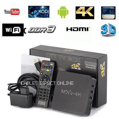 NEW MXQ Pro 4K 3D 64Bit Android 7.1 Quad Core Smart TV Box Streamer-S905W
