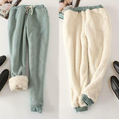 Womens Warm Thicken Fur Lining Pants Casual Loose Comfy Trousers sweatpants #4