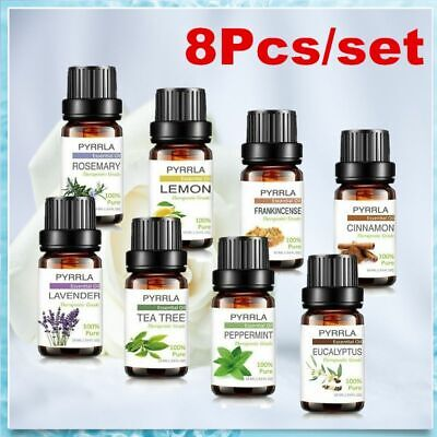 Top 8Pcs Essential Oils 10ml 100%Pure Aromatherapy Fragrance Diffuser Burner Kit