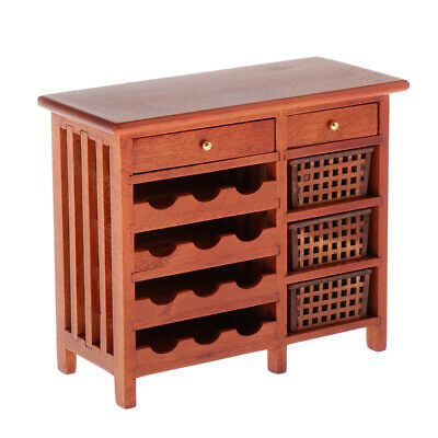 Fashion Modern Home Decor Wine Cabinet Furniture Wooden for 1/12 Dollhouse