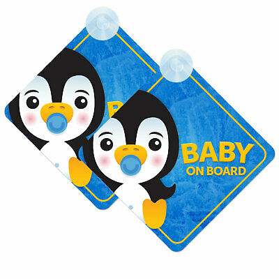 Baby On Board Twin Pack of Baby Penguin Design Car Signs (2pcs) Boy/Girl Blue