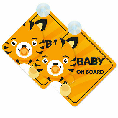 Baby On Board Twin Pack of Baby Tiger Cub Cute Design Car Signs (2pcs) Boy/Girl