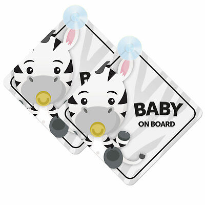 Baby On Board Twin Pack of Baby Zebra Design Car Signs (2pcs) Boy/Girl Cute