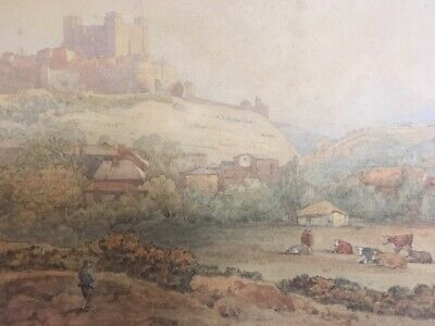 An Original Antique Mid-19th Century Watercolour Painting of Dover Castle