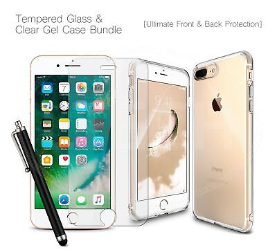 "For Apple iPhone XI (2019) 6.1"" - Clear TPU Gel Case, Glass Protector Deal & Pen"