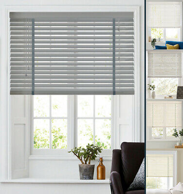 50mm Faux Wood Venetian Blinds with Tapes Made to Measure in PVC Slats