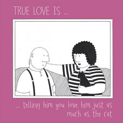 True Love with Fred Humorous Greetings Card Blank Everyday 15cm x 15cm Black Cat