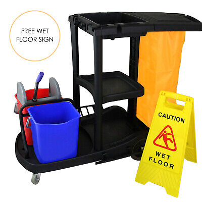 Janitorial Cleaning Trolley Cart Commercial Hotel Housekeeping Janitor Cleaner