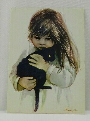Vintage Polish Artist Postcard Black Eyed Girl Holding a Cat Creepy Haunting