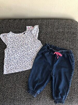 Next Baby Girls Blue And White Floral Top And Trousers Outfit