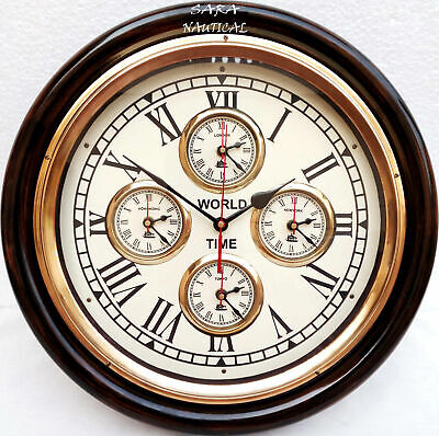 Vintage style Brass Wooden Wall Clock~World Time Clock Wall Decor Christmas Gift