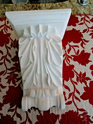Acanthus leaf Corbel White bracket for wall shelf ceiling molding 10-1/2""