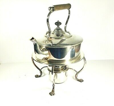 Antique silver plate Spirit Kettle on stand with burner Hukin and Heath