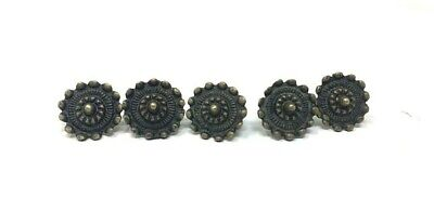 Ancient Old Bronze Hand Engraved 5 Rare Cabinet Door Fitting Flower Button