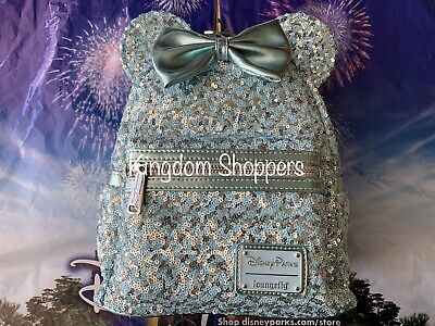 NEW Walt Disney Parks Loungefly Arendelle Aqua Sequin Backpack In Hand