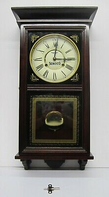 Sunoco Advertising Dealer Incentive Wooden Wood Chiming Regulator Wall Clock
