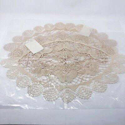 New Handmade Crochet Lace Round Table Doilies 14x20  Lot of 2