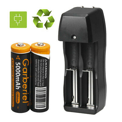 2pcs Garberiel 5000mAh 3.7V 18650 Li-ion Rechargeable Battery For Torch +Charger