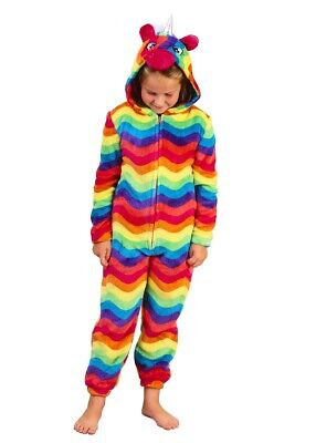 Girls Bright Rainbow Unicorn Design Cosy Fleece Novelty Hood All In One 3 Sizes