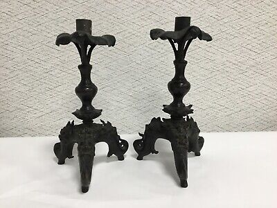 Antique Chinese Ming Dynasty Bronze Candle Holders Dragon And Lotus Flowers