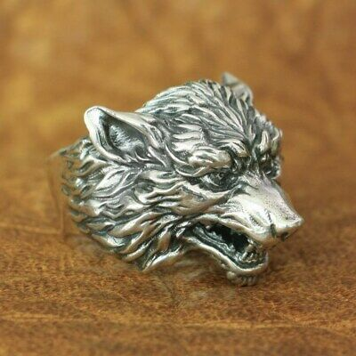 925 Sterling Silver High Details Wolf Ring Mens Biker Punk Ring TA163A US 7~15
