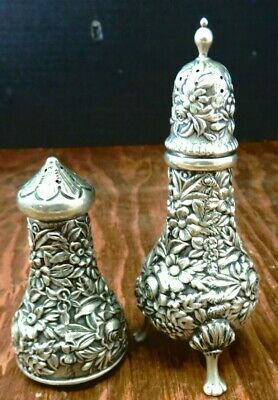 Vintage S. Kirk & Sons Repousse Sterling Silver Shakers (1 Footed) Excellent Con