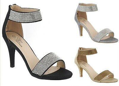 Ladies High Heel Strappy Sandals Womens Bridal Prom Diamante Shoes Sizes 3-8