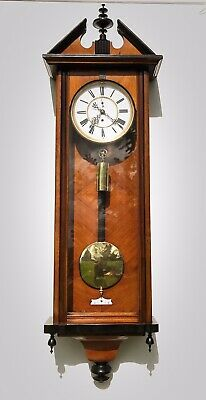 Vienna Single Weight Wall Clock Walnut & Ebonised Its In Nice Condition