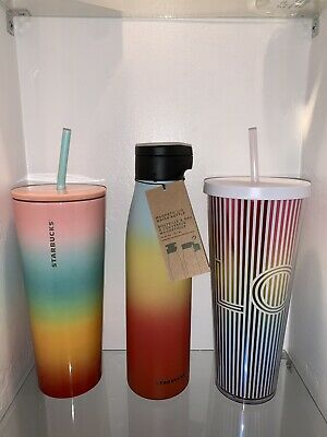 Starbucks 2019Rainbow Pride 3 Tumbler/ Stainless Steel WB Bundle! New Authentic.