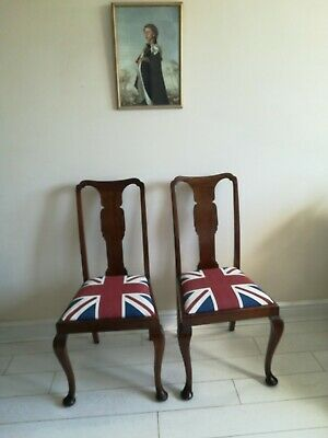 Pair Antique Dining Chairs Queen Anne legs Newly Upholstered In 'Union Jack'