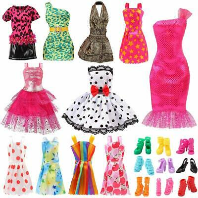 Barbie Dolls Clothes Set Outfits Handmade Party Casual Dresses Shoes Fashion