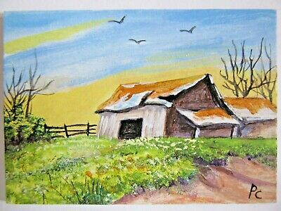 ACEO Original Acrylic Painting Gray Barn Summer Landscape Farm by Peggy Conyers