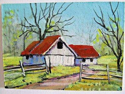ACEO Original Acrylic Painting Arkansas Barn Landscape Country by Peggy Conyers