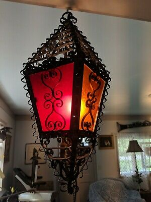 American Gothic Spanish Revival Wrought Iron Stained Glass Antique Hanging Light