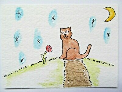 ACEO Original Watercolor Cat Rose Blooming Spring Love Signed by Artist MiloLee