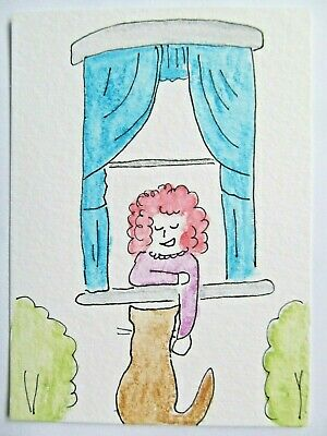ACEO Original Watercolor Cat Kitty Woman Lady Window Becoming Friends by MiloLee