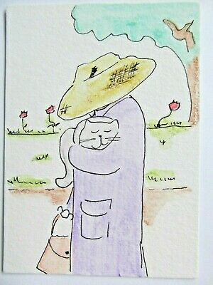 ACEO Original Watercolor The Cat Lady Woman Grey Kitty Signed by Artist MiloLee