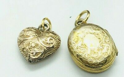 Antique Georgian / Victorian Gold Cased Locket & Heart Pendant Rare Collectible