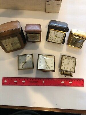 Group of a vintage Wind travel alarm clock Made By swiss Or Germany