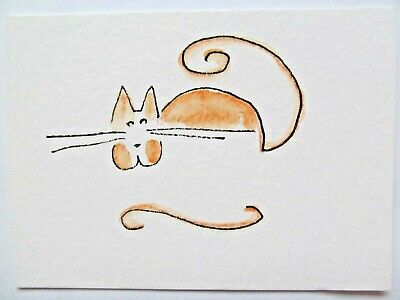 ACEO Original Watercolor Simple Cat Stylized Kitty Art Signed by Artist MiloLee