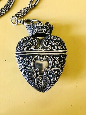 Gorgeous Antique Victorian Sterling Heart Vinaigrette Hinged Pendant With Chain
