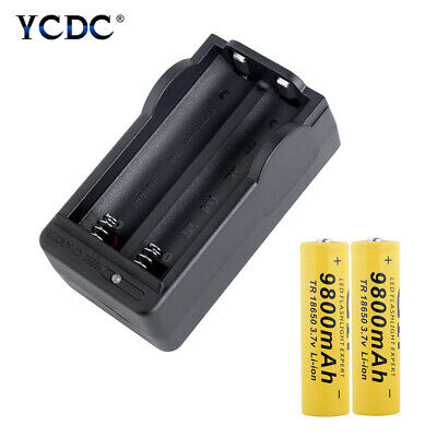 2X Rechargeable 3.7V 9800mAh 18650 Batterires+Charger For Flashlight US Plug 92