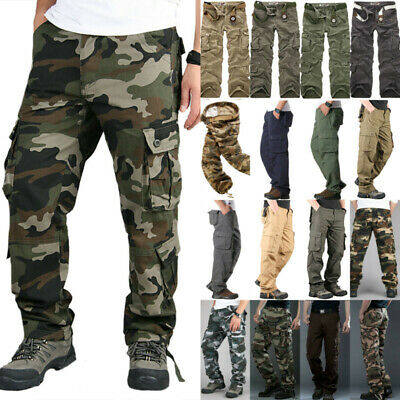 Mens Elasticated Cargo Combat Army lightweight Cotton Trousers Long Pants Bottom