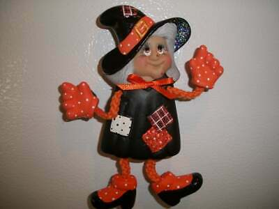 Ceramic Bisque Hand-Painted Witch Halloween Poseable Refrigerator Magnet