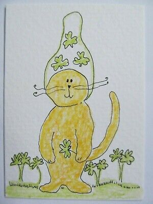 ACEO Original Watercolor Cat Clover Shamrock Little Ginger Kitty Signed MiloLee