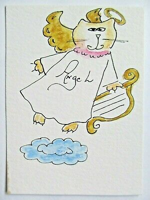 ACEO Original Watercolor Kitty Angel Cat with Harp Halo Signed by Artist MiloLee
