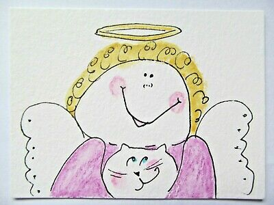 ACEO Original Watercolor Cat Protector Angel Halo Kitty Signed by Artist MiloLee