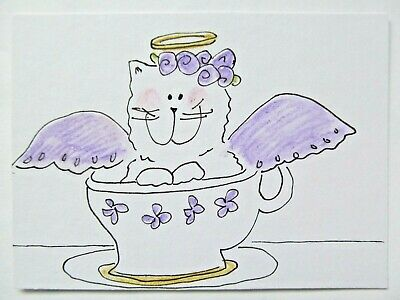 ACEO Original Watercolor Kitty Teacup Flowers Purple Cat Angel by Artist MiloLee